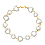 Heart Link Bracelet with Diamond in 14K Yellow Gold over Sterling Silver