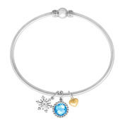 2 1/4 ct Natural Swiss Blue Topaz Charm Bracelet in Sterling Silver and 14K Yellow Gold