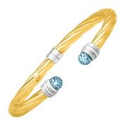 Sky Blue Topaz Bangle Bracelet in Sterling Silver & 14K Yellow Gold