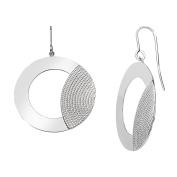 Textured Drop Hoop Earrings in Sterling Silver
