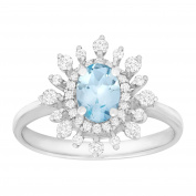 5/8 ct Natural Aquamarine & 3/8 ct Diamond Starburst Ring