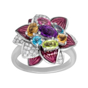 1 3/4 ct Multi-Stone Flower Ring in Sterling Silver