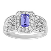 1/2 ct Natural Tanzanite & Natural White Topaz Ring in Sterling Silver
