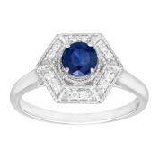 5/8 ct Natural Kanchanaburi Sapphire & 1/10 ct Diamond Hexagon Ring in 14K White Gold