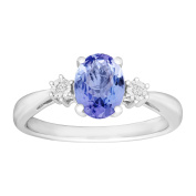 1 1/4 ct Natural Tanzanite Ring with Diamonds in Sterling Silver
