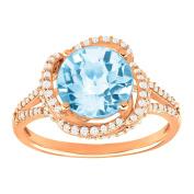 3 1/2 ct Natural Sky Blue Topaz & 3/8 ct Diamond Ring in 10K Rose Gold