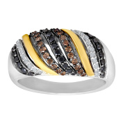1/2 ct Black, White & Brown Diamond Ring in Sterling Silver & 14K Gold
