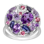 3 ct Natural Multi-Stone Ring with Diamonds in Sterling Silver