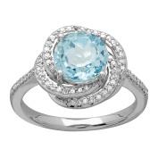 2 1/3 ct Natural Sky Blue Topaz & 1/5 ct Diamond Ring in 14K White Gold