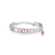Bling Jewellery Girls Pink Enamel Princess Heart Charm Baby Bracelet 925 Silver