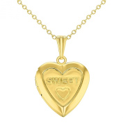 Sweet Love Heart Small Locket Pendant Necklace Girls Teens Kids Gold Tone 41cm