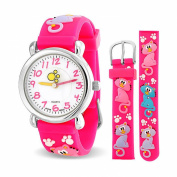 Bling Jewellery Pink Kitty Cat Paw prints Animal Girls Watch Stainless Steel Back