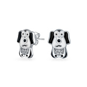 Bling Jewellery Sterling Silver Black and White Puppy Dog Kids CZ Stud Earrings