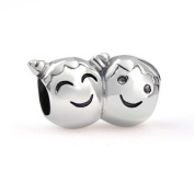 Bling Jewellery 925 Silver Brother and Sister with Pigtails Face Bead Charm Fits Pandora