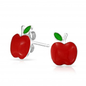 Bling Jewellery Childrens Red Enamel Apple Stud Earrings Sterling Silver