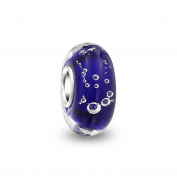 Bling Jewellery Sterling Silver Hawaiian Ocean Blue Bubble Murano Glass Bead Fits Pandora