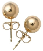 Bling Jewellery 14k Yellow Gold Hollow Centre Ball Stud Earrings Children Bead Size 3mm