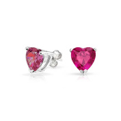 Bling Jewellery 925 Silver Childrens Pink Simulated Sapphire Heart Stud Earrings