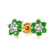 Bling Jewellery 14k Gold Flower Baby Safety Screw back Earrings Simulated Emerald CZ