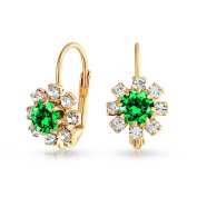 Bling Jewellery Simulated Peridot Flower Leverback Earrings Gold Filled