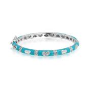 Bling Jewellery Baby Blue Enamel Kids Bangle Bracelet CZ Pave Heart 13cm Silver Plated