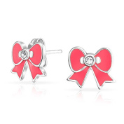 Bling Jewellery Childrens Stud Earrings Pink Enamel Ribbon Bow 925 Silver