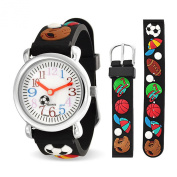 Bling Jewellery Black Analogue Rubber Sports Kids Watch Stainless Steel Back