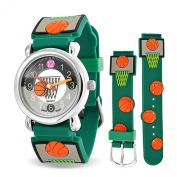 Bling Jewellery Green Basketball Hoop Sports Kids Watch Stainless Steel Back