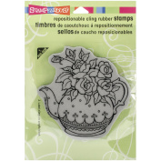 Stampendous Cling Rubber Stamp 14cm x 11cm Sheet-Teapot Posies