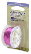 Artistic Craft Wire Silver Plated Fuchsia Hot Pink 24 Gauge 10 Yards