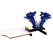 4 Colour 1 Station Silk Screen Commercial Printing Press Machine Blue NS401