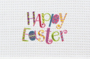 Happy Easter Embroidered Waffle Weave 70cm Kitchen Dish Towel