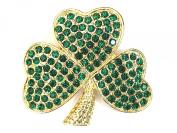 Emerald Colour Green Shamrock Clover Pin Brooch 3 Leaf St Patricks Day