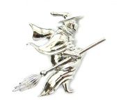Witch On Broom Pin Brooch For Halloween