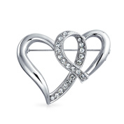 Bling Jewellery Double Open Ribbon Hearts Crystal Valentines Brooch Pin Silver Plated