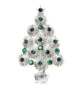 Christmas Tree Pin Brooch Gorgeous Emerald Colour Green Crystal A53