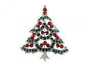 Gorgeous Red Green Rhinestone Crystal Christmas Tree Pin Brooch R44