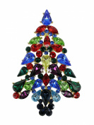 Stunning Gorgeous Multicolors Crystal Gold Plated Christmas Tree Pin Brooch A12