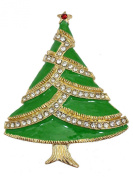 Gorgeous Clear Crystal Christmas Tree Pin Brooch C641
