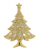 Gorgeous Aurora Borealis Gold Plated Metal Christmas Tree Pin Brooch T73