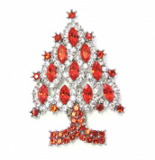 Gorgeous Clear And Red Crystal Christmas Tree Pin Brooch D81