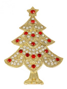 Gorgeous Clear Red Crystal Gold Plated Christmas Tree Pin Brooch H107