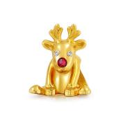 Bling Jewellery 925 Silver Christmas Reindeer Gold Rudolph Bead Fits Pandora