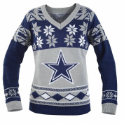 Dallas Cowboys NFL Women's Big Logo V-Neck Ugly Christmas Sweater Medium
