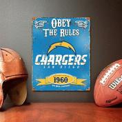 San Diego Chargers Embossed Metal Vintage Sign