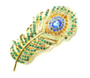Peacock Feather Hair Barrette Clip Gorgeous Multicolors Rhinestone Crystal