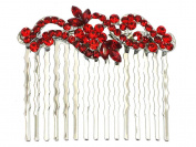Red Hair Comb Crystal Floral Bridal Bridesmaid Flower Girl Wedding Party Prom
