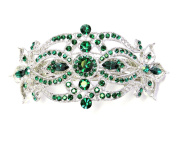Hair Barrette Big Emerald Colour Green Crystal For Bridesmaid Wedding Party