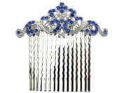 Blue Floral Hair Comb Sapphire colour Bridesmaid Flower Girl Wedding Party