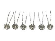 6 Clear Rhinestone Hair Pins For Bridal Bridesmaid Flower Girl Wedding Party B17